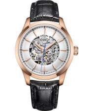 Rotary GS05036-06 Mens Rose Gold Plated Black Skeleton Mechanical Watch