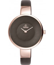 Obaku V149LXVNRN Ladies Rose Gold Plated Brown Leather Strap Watch