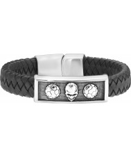 Police 25572BLB-01-L Mens Catacomb Skull Leather Bracelet