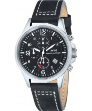 AVI-8 AV-4001-01 Mens Hawker Harrier II Black Leather Strap Chronograph Watch