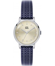 Orla Kiely OK2025 Ladies Patricia Stem Print Navy Leather Strap Watch