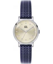 Orla Kiely OK2025 Ladies Patricia Stem Print Navy Leather Strap Watch