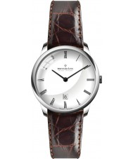 Dreyfuss and Co DGS00135-01 Mens White Brown Leather Strap Watch