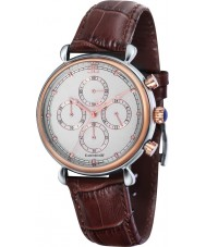 Thomas Earnshaw ES-8052-03 Mens Grand Calender Brown Crock Chrono Watch Gift Set with Cufflinks