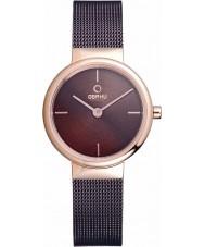 Obaku V153LXVNMN Ladies Rose Gold Plated Brown Mesh Bracelet Watch
