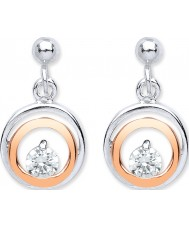 Purity 925 PUR3832ED Ladies Two Tone Rose Gold Plated Drop Earrings