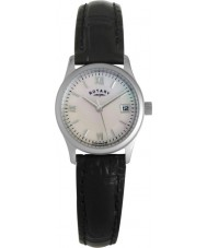 Rotary LS00792-07 Ladies Black Leather Strap Watch