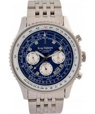 Krug-Baumen 600304DSA Mens Air Traveller Diamond Silver Steel Bracelet Watch