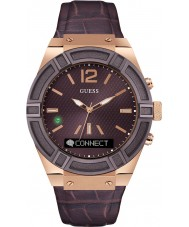 Guess Connect C0001G2 Mens Brown Leather Strap Smart Watch