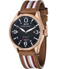 AVI-8 AV-4040-04 Mens Hawker Harrier II Two Tone Leather Strap Watch with Extra Black Nylon Strap