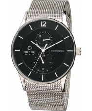 Obaku V157GMCBMC Mens Multifunction Silver Tone Mesh Bracelet Watch
