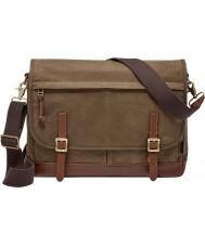 Fossil MBG9078200 Mens Defender Brown Cotton Messenger Bag
