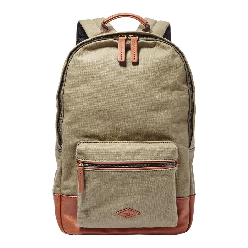 Fossil Mens Estate Olive Canvas Backpack