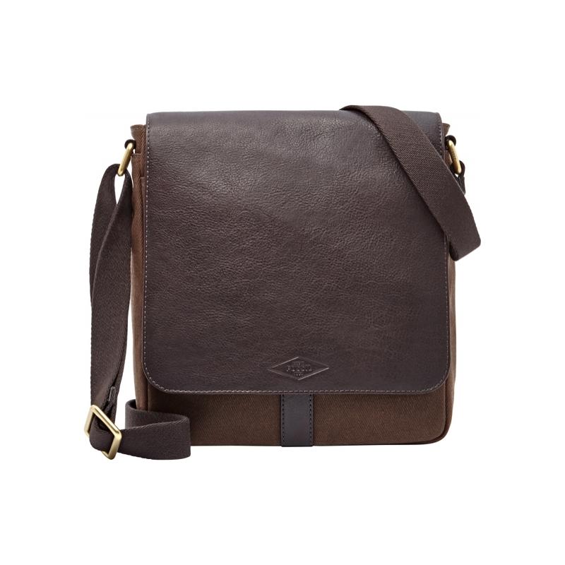 Fossil Mens NS Trevor Dark Brown Twill City Bag