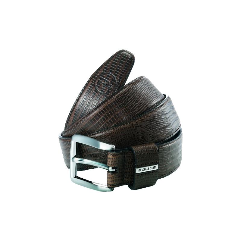 Police POMAA8-0402DS P gardien brun argent en cuir boucle de ceinture - s 3223e96d2c8
