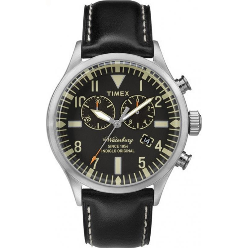 d82ffa8b7d4 Timex TW2P64900 Mens herança de couro preto relógio pulseira de Waterbury
